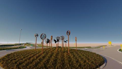 FERDIG: Sånn vil skulpturene se ut når de er ferdig i Ånestadkrysset.