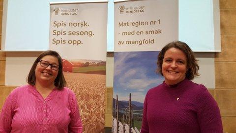 TOSPANN:  Leder Elisabeth Gjems (til høyre) og nestleder   Kristina Hegge i Innlandet Bondelag. Foto: Innlandet Bondelag