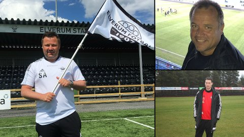 KLARE: Trenerne for Elverum (Stian Aasen), Nybergsund (Ola Brenden) og Tynset (Mads Lund) er klare for fotball igjen.
