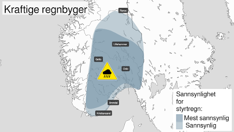 REGN OG TORDEN: Det er sendt ut farsevarsel om styrtregn for store deler av Østlandet, og det er også fare for lyn og torden.