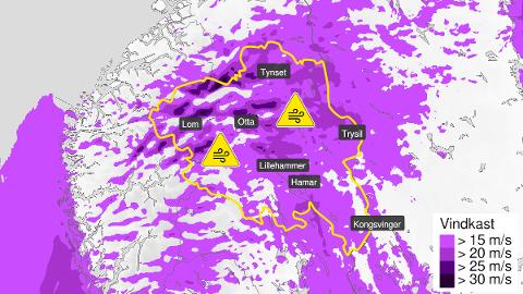 VARSEL: Kraftige vindkast er ventet i Innlandet fra onsdag ettermiddag.