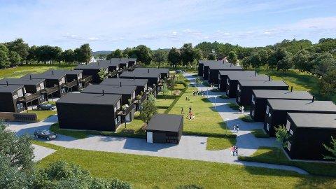 NYTT FELT: Illustrasjonen viser hvordan Nordbolig planlegger å bygge 22 eneboliger i rekke i Løten, like utenfor sentrum.