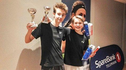 Jonas Hamsdokka og Henrik Baugerød fra PTK gikk til topps i double i U16-finalen.