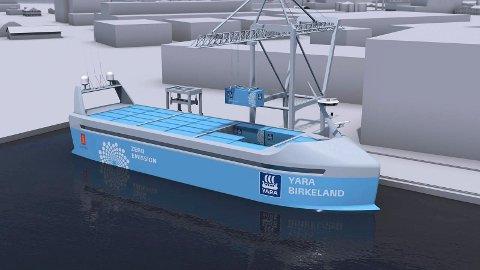 Dette er en modell av Yara Birkeland som skal bli et verdens første selvkjørende skip.