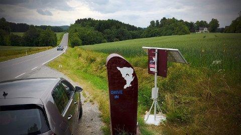 Drive In: Slik så det ut da lydboksen var plassert i Eidsberg. Den vil få et helt nytt utseende når den skal plasseres i Rakkestad.