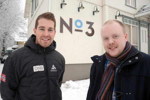 Vegar Bergli (t.v.) og Robin Myren skal gjennom selskapet VR Grill & Bar AS drive No3. De planlegger å åpne dørene i begynnelsen av februar.