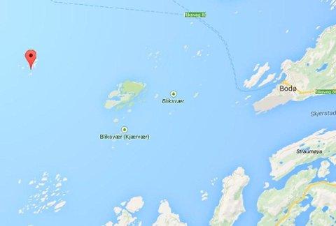 Givær ligger lengst ute i havet mellom Bodø og Værøy/Røst. Foto: Googlemaps