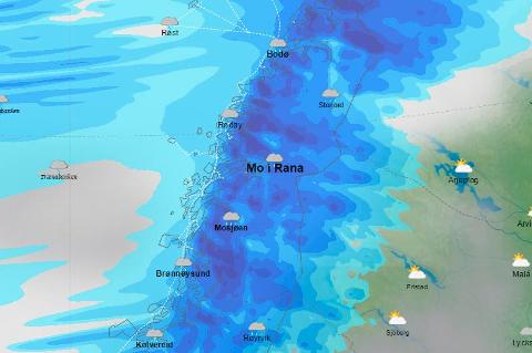 Slik ser kartet til yr.no over forventet nedbør ut klokken 1400 tirsdag.