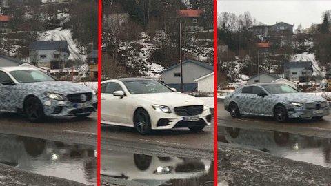 Børge filmet karavanen med testbiler fra Mercedes, både forfra og bakfra. Dette er litt av en testbil-samling! Foto: Børge Masterdalshei