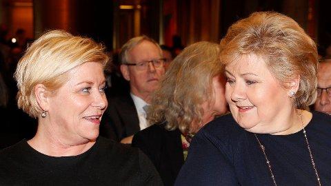 Finansminister Siv Jensen og statsminister Erna Solberg.