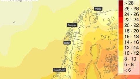 Varmen er på vei nordover ifølge meteorologen.