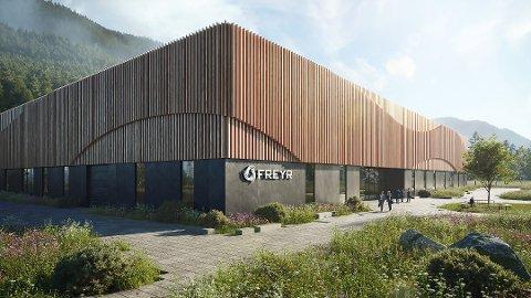 Slik ser Tanken Arkitektur for seg utformingen på fabrikken Freyr skal bygge inne i Mo Industripark. Tegning: Tanken Arkitektur AS