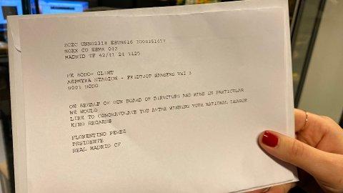 Real Madrid-president Florentino Perez har sendt telegram og gratulert Bodø/Glimt med seriemesterskapet.