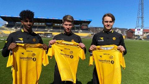 Adan Hussein, Mads Halsøy og Elias Hoff Melkersen var godt fornøyde etter at de hadde signert nye kontrakter med Bodø/Glimt. Foto: Stian Høgland