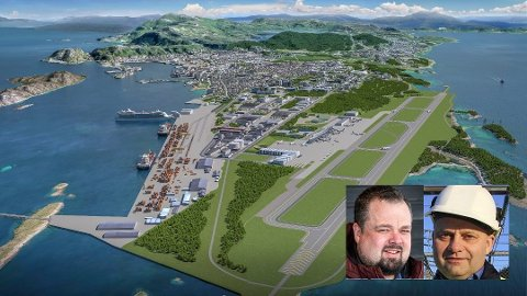 Ole M. Kolstad (innfelt t.v.) og Arve Ulriksen skriver i leserbrevet at det store by- og flyplassutviklingsprosjektet i Bodø ikke er stormannsgalskap.