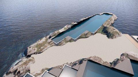 Perspektiv mot basseng C etter designoptimaliseringen av Indre Rosøya.