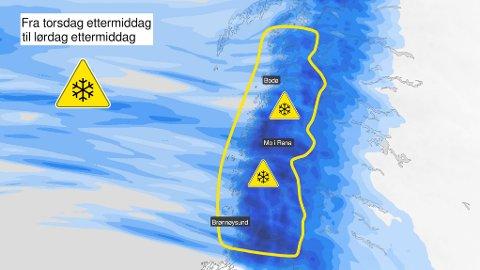 Meteorologene har sendt ut gult farevarsel om store snømengder fra torsdag ettermiddag av.