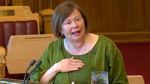 Siv Mossleth (Sp), her for anledning i spørretimen på Stortinget. Arkivfoto Foto: Skjermdump
