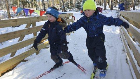 Stor fart: Det var ingen tvil om at barna i Marihøna gård go friluftsbarnehage hadde god kontroll på skia da de fikk teste den splitter nye skiløypa. foto: haakon skarpnrod