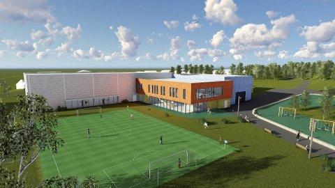 Klart for utbygging: Slik blir Moelvs nye idrettssentrum, med nye idrettshall samt svømmehall. Illustrasjon:pLAN 1