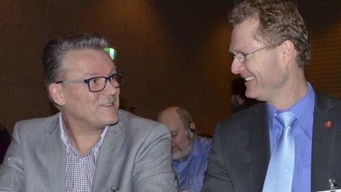 SNakke sammen:  Både fylkesleder Johan Aas og stortingsrepresentant Tor Andre Johnsen har støtte i den uformelle gruppa protestantene henviser til. Arkivfoto