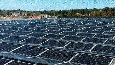 SOLCeller: ASKO Hedmark i Brumunddal søker om tillatelse til å «fylle» takene sine med solcellepaneler. Illustrasjon: Sweco