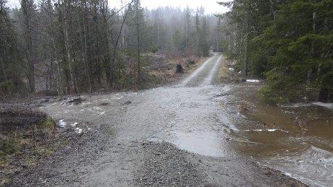 Skader: Mye nedbør og snøsmelting førte til at en rekke fjellveger og privatveger ble oversvømmet 18. mai. Foto: Sverre Evensen
