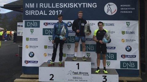 Til topps: Even Mangset fra Brumund ble lørdag  norsk mester i rulleskiskyting i Sandnes. Sigurd Trømborg og  Eirik Kjøl Tornes ble henholdsvis nummer to og tre.
