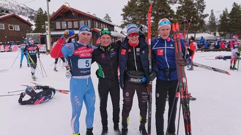 Sølv i NM: Hedmark 1. lag. Fra venstre: Kristoffer Kvarstad, Petter Myhr, Jonas Vika og Håvard Hovde