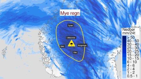 GULT FAREVARSEL: Meteorologisk institutt har sendt ut gult farevarsel om nye nedbør for store deler av Østlandet lørdag.