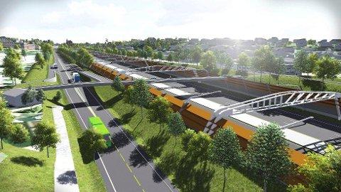 Ny E18 ved Ramstadsletta kan komme til å se slik ut. Byggestart kan bli allerede i 2017. (Illustrasjon: Statens Vegvesen)