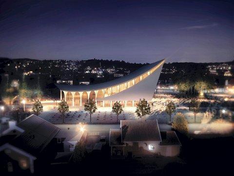Slik vil nye Hønefoss kirke se ut. Arkitektene kalte den for Himmeltrærne. (Modell: Link arkitekter)