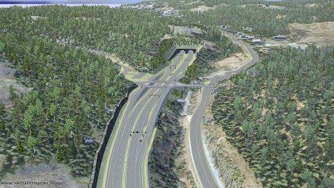 Slik blir veien mellom Bjørum og Skaret når den er ferdig bygget. Her ser vi veisystemet slik det er planlagt ved Avtjerna, med tunnelen som skal gå under Sollihøgda. Illustrasjon: Statens Vegvesen/ViaNOVA
