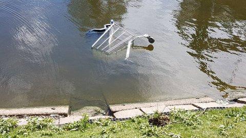 IKKE FUGLEMAT: Her mates oftest ender og måker, men noen har også funnet det for godt å slenge fra seg en stjålet handlevogn ved vindebroen i Gamlebyen i Fredrikstad.