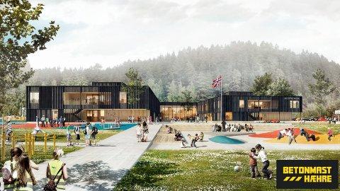 Nye Ullerål skole: Slik vil den nye skolen se ut fra uteområdet. Tegnet av L2 Arkitekter.