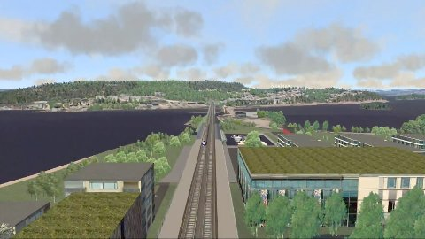 MØTE: 14. juni inviterer Hole Høyre til åpent møte i herredshuset om den planlagte storveksten rundt en jernbanestasjon på Sundvollen. Illustrasjon: Bane Nor