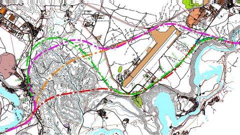Dette kartet viser fire alternativer til vei mellom Eggemoen og Nymoen. Ifølge Statens vegvesen er grønt alternativ lite aktuelt.
