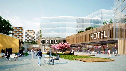 Slik kan det nye bydelssenteret Torget vest bli seende ut. Hotell er en av flere muligheter utbyggeren ser på.