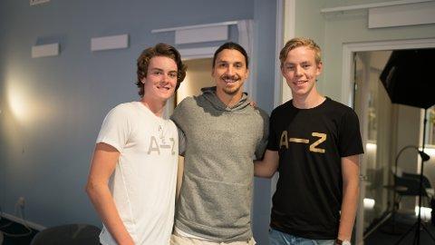 Glenn Hope (17) og Gabriel Hjortland (18) fikk møte helten Zlatan i Stockholm.
