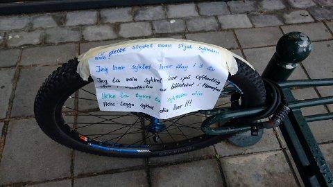 Uheldig: En uheldig sykkeleiers oppfordring til andre.