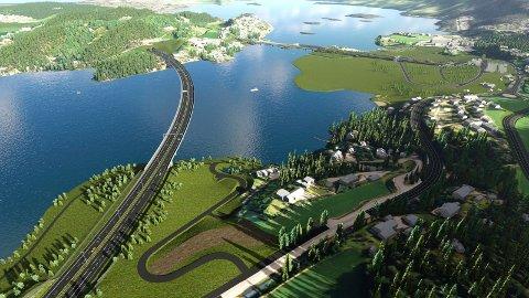 Slik planlegges stasjonsområdet ved Sundvollen i reguleringsplanen for Ringeriksbanen og E16. Her ser vi også hvordan kryssingen av Kroksund blir med ny E16.