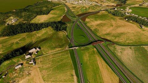 Vekrysset, slik det er prosjektert i reguleringsplanen for Ringeriksbanen og E16.