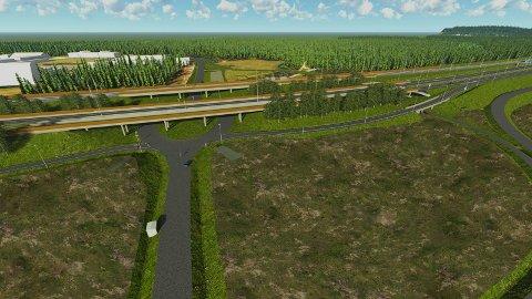 GOD KAPASITET: - Dette krysset er prosjektert ved Helgelandsmoen.  - Et slikt kryss vil ha god kapasitet til næringsutvikling, sier Frederik Skarstein.