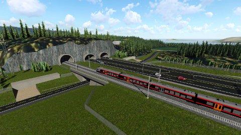 Gorm Frimannslund forklarer hvorfor han vil bruke mer tid på å bygge ut jernbaneprosjekter som Ringeriksbanen. Denne illustrasjonen viser hvordan banen vil gå ved Selteveien/Kjellerberget.