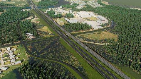 UTEN KRYSS: Slik er planene for E16 og Ringeriksbanen ved Helgelandsmoen dersom det ikke blir kryss på stedet.