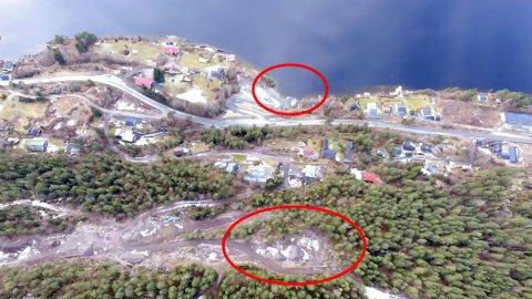 ALTERNATIVENE: Dronefoto  med Utstranda-kaia og «Utsikten» markert.