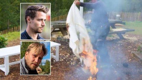 FORBANNA: Daniel Viem Årdal og Kjetil Kirk synes TV 2 og «Farmen»-produksjonen håndterte sabotasjen til Inger Cecilie på en dårlig måte. Til Nettavisen forteller de at de vurderte politianmeldelse. Foto: TV 2