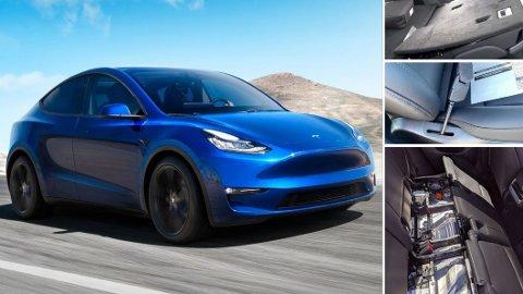 TRØBBEL: Utleveringene av Tesla Model Y har startet i USA. Nå melder flere kunder om kvalitetsproblemer. Løse seter, store glipper og dårlig lakkering er blant funnene. Foto: Tesla/Electrek