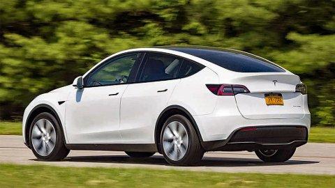 BLIR TYSK: Tesla er et amerikansk bilmerke, men den den helt nye Tesla Model Y som mange nordmenn venter på, bygges i Tyskland. Illustrasjonsbilde