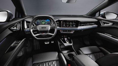 NYHET: Det er snart duket for verdenspremiere av Audi Q4 e-tron, men allerede nå er de første bildene av interiøret sluppet.